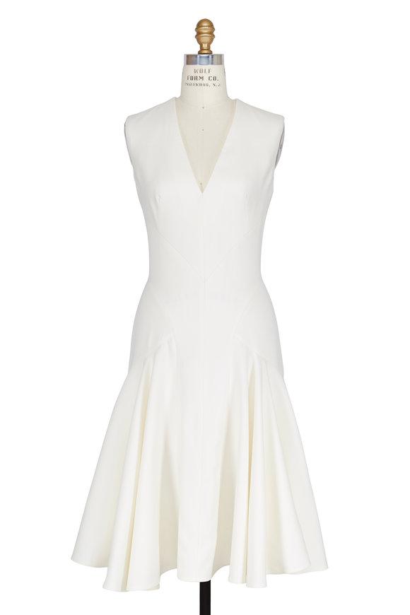 Alexander McQueen Ivory V-Neck Paneled Dress