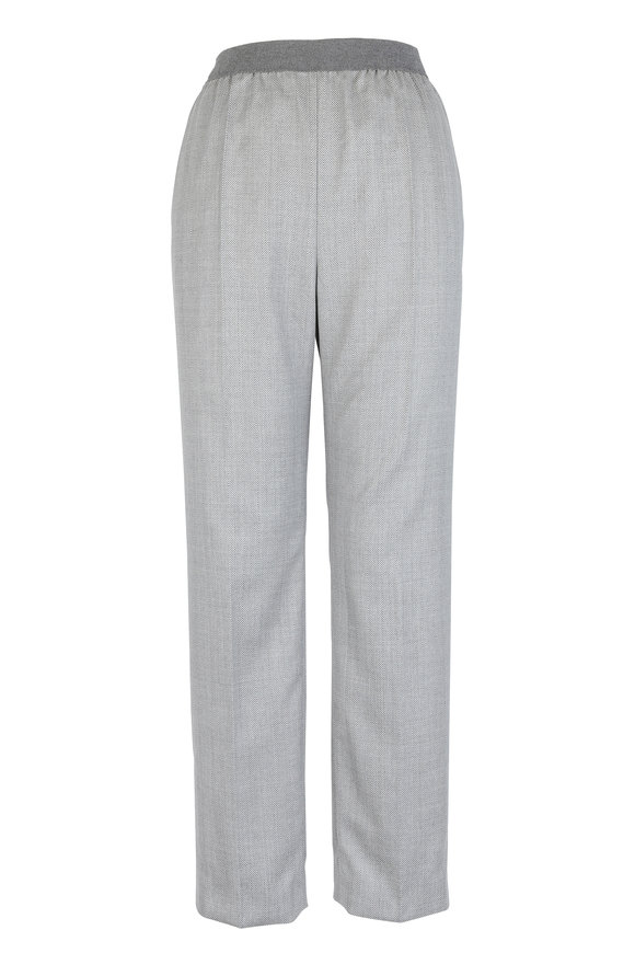 Agnona Gray Stretch Wool Pull-On Pant