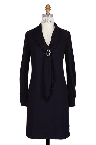 Prada - Black Jeweled Long Sleeve Dress