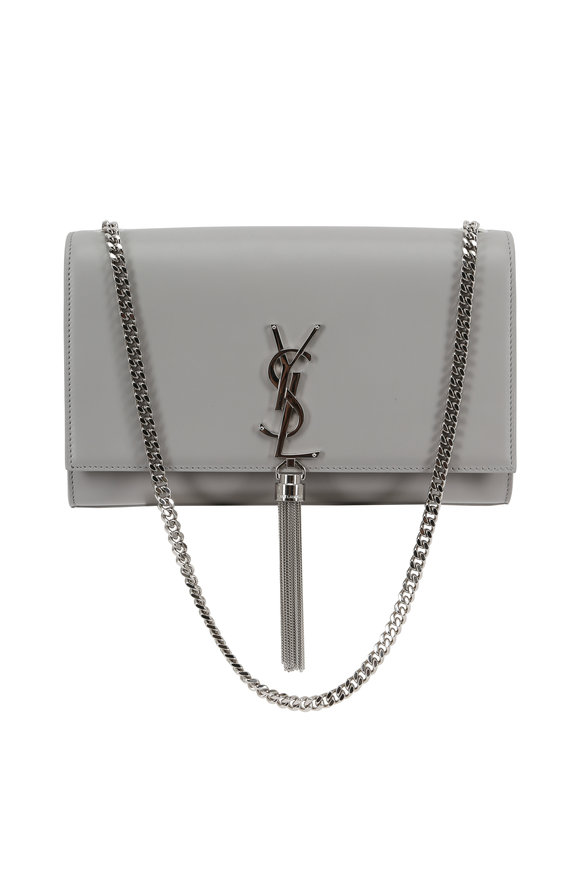 Saint Laurent Kate Monogram Gray Leather Tassel Shoulder Bag