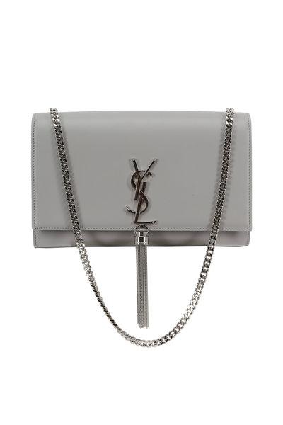 Saint Laurent - Kate Monogram Gray Leather Tassel Shoulder Bag