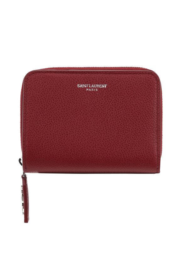 Saint Laurent Burgundy Grained Leather Compact Zip Wallet
