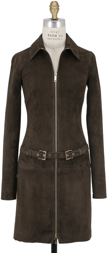Jitrois Agatha Moss Stretch Suede Zip Front Belted Dress
