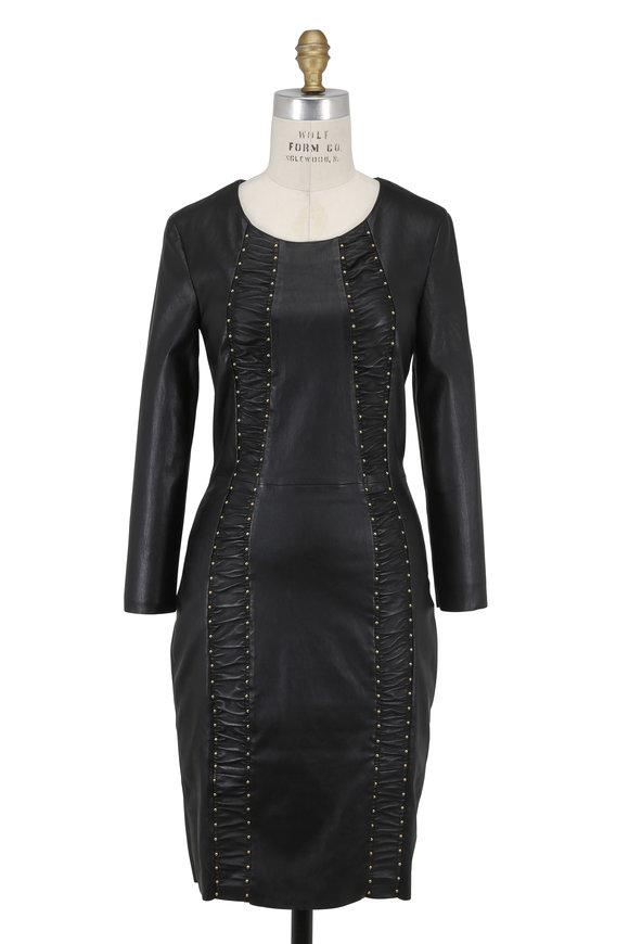 Jitrois Express Black Stretch Leather Studded Dress