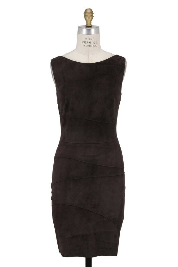 Jitrois Waves Brown Stretch Suede Sleeveless Dress