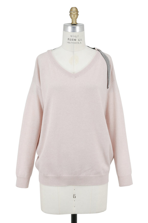Brunello Cucinelli Light Pink Cashmere Double V-Neck Sweater