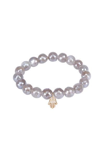 Sydney Evan - Gray Moonstone Hamsa Charm Bracelet