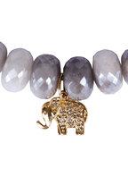 Sydney Evan - Gray Bead Elephant Charm Bracelet