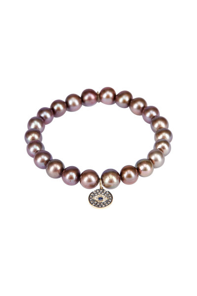 Sydney Evan - Pearl Evil Eye Charm Bracelet