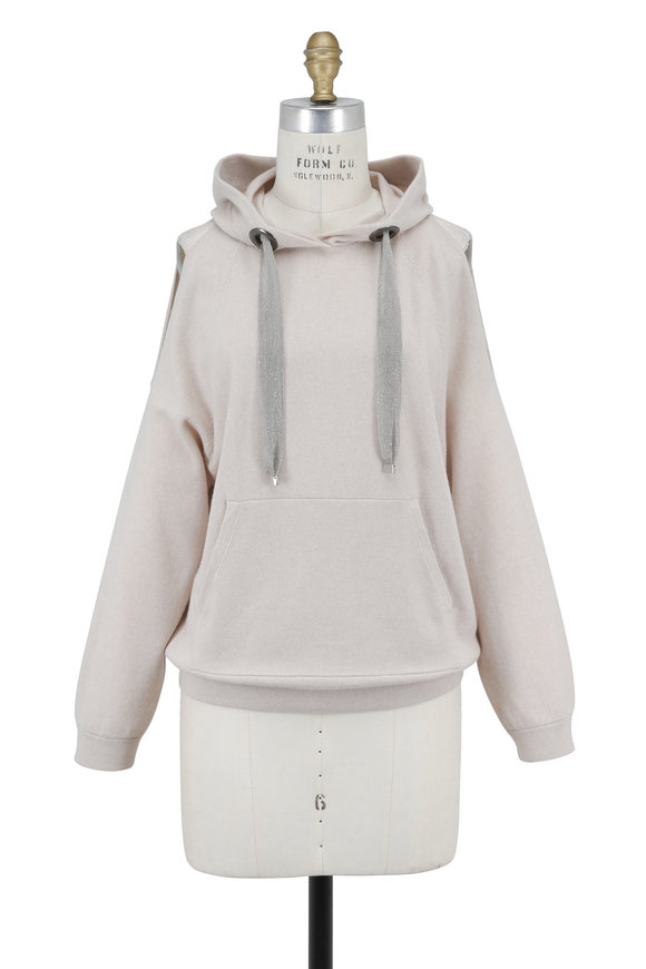Brunello Cucinelli Sand Cashmere Cut-Out Monili Drawstring Hoodie