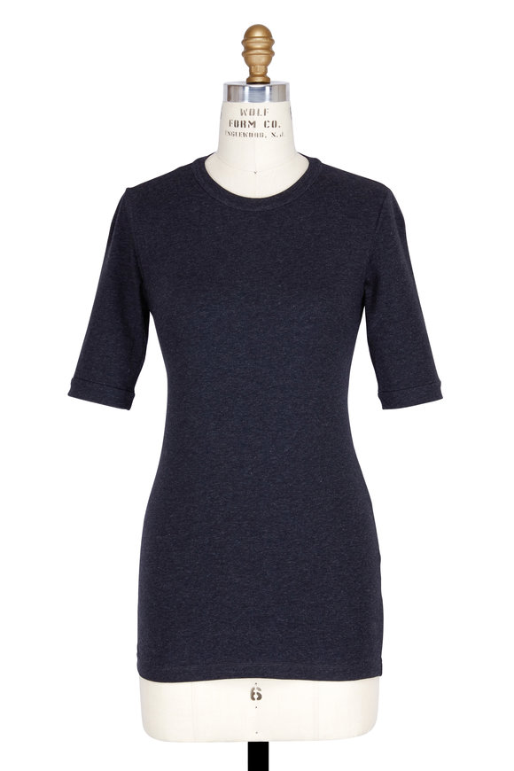 Brunello Cucinelli Anthracite Stretch Cotton Elbow Sleeve T-Shirt