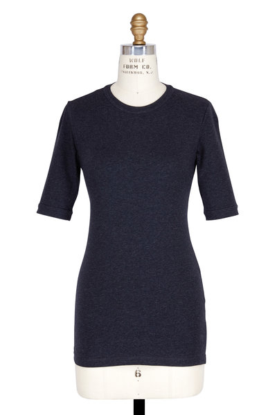 Brunello Cucinelli - Exclusively Ours! Anthracite Elbow Sleeve T-Shirt