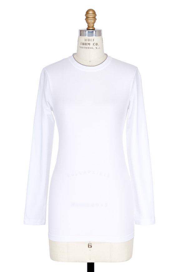 Brunello Cucinelli White Cotton Monilli Trim Long Sleeve T-Shirt