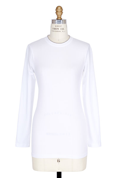 Brunello Cucinelli - White Cotton Monilli Trim Long Sleeve T-Shirt