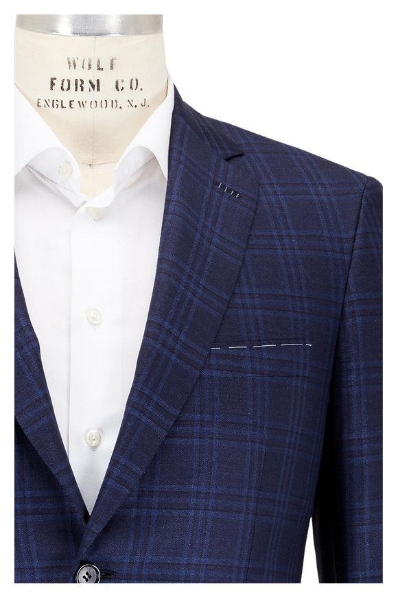 Brioni Navy Blue Plaid Wool Sportcoat