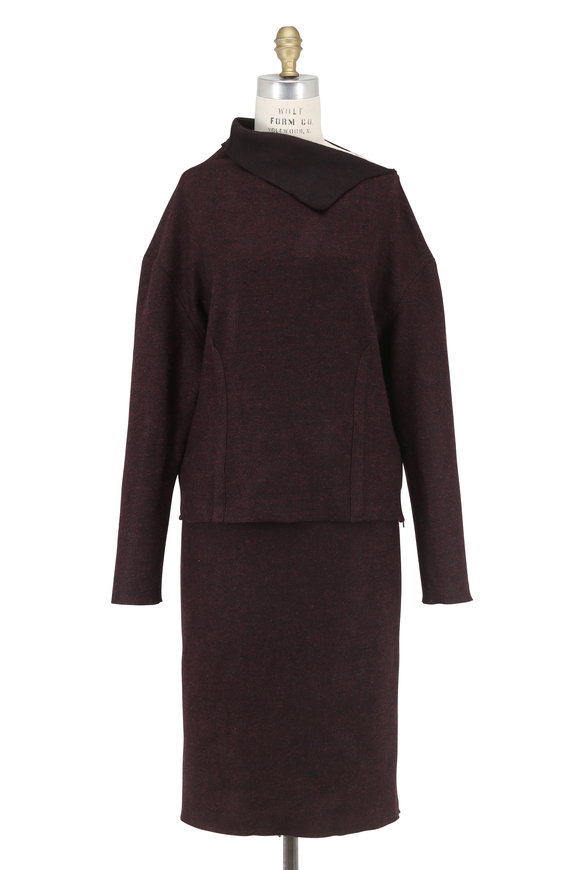 Kiton Plum Cashmere Split Neck Pullover & Skirt Set