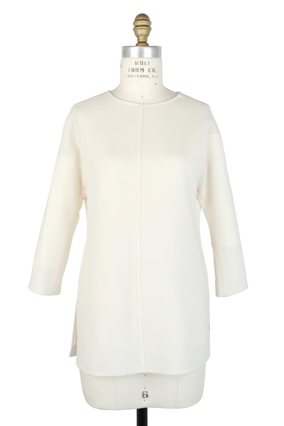 Olivine Gabbro Cream Double-Faced Wool & Silk Back Tunic