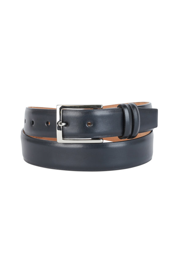 W Kleinberg Black Leather Belt