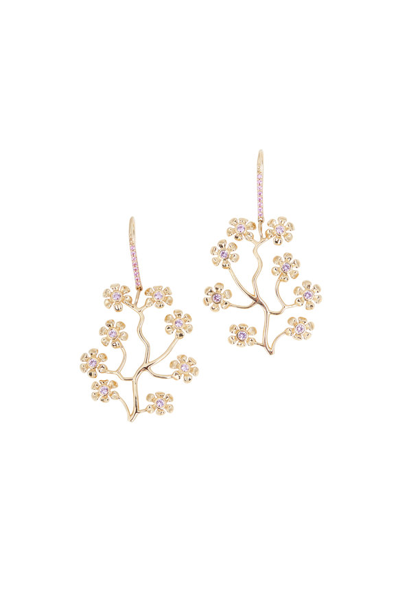 Emily & Ashley 18K Yellow Gold Pink Sapphire Blossom Earrings