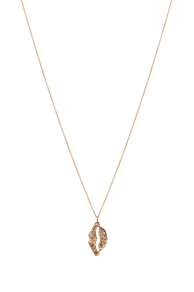 Pink Gold Hanging Diamond Lips Necklace