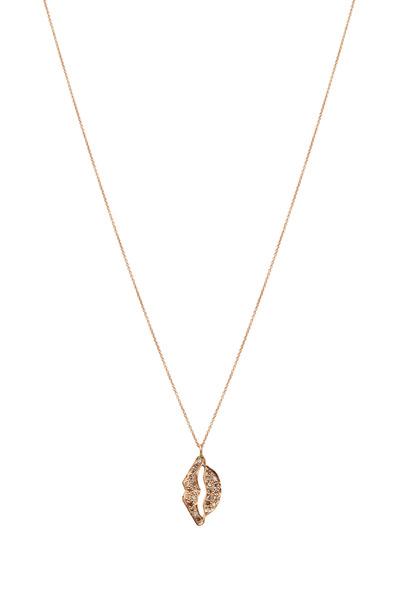 Tulah Jem - Pink Gold Hanging Diamond Lips Necklace