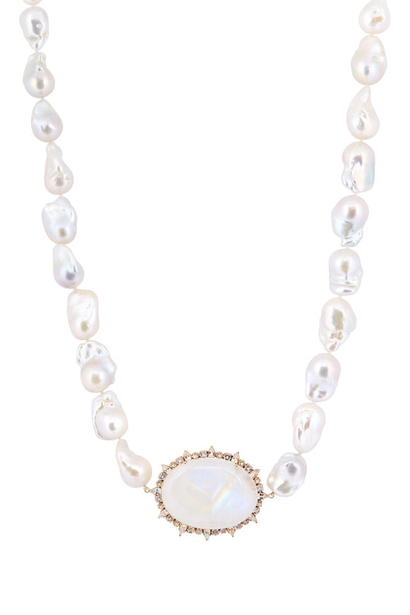 Emily & Ashley 18K Yellow Gold Pearl & Moonstone Pendant Necklace