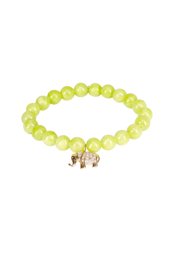 Sydney Evan Lime Jade Diamond Elephant Charm Bracelet