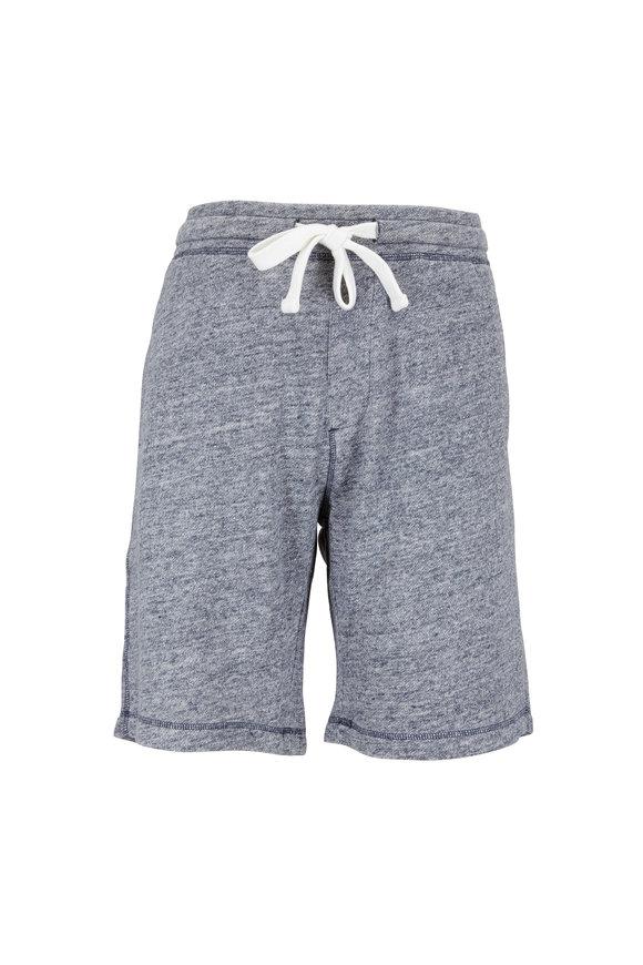 Tailor Vintage Heather Navy Blue Cotton & Linen Shorts