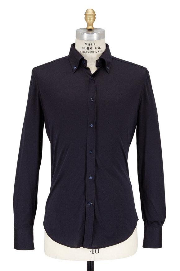 Brunello Cucinelli Navy Blue Silk & Cotton Knit Slim Fit Shirt