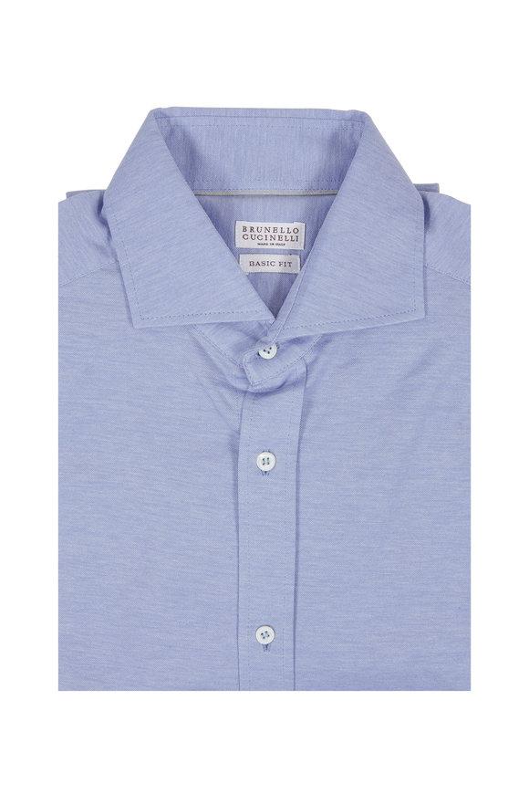 Brunello Cucinelli Light Blue Basic Fit Knit Sport Shirt