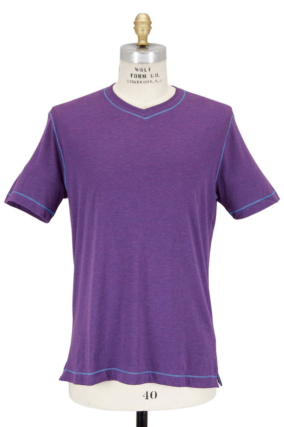 Robert Graham Purple Heather V-Neck Jersey T-Shirt