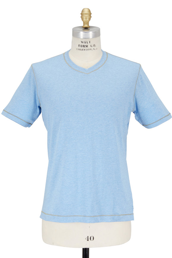 Robert Graham Light Blue V-Neck Classic Fit T-Shirt