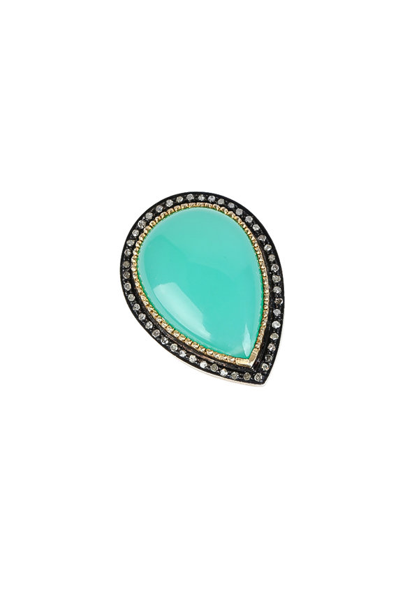 Loren Jewels 14K Gold & Silver Diamond & Chrysoprase Ring