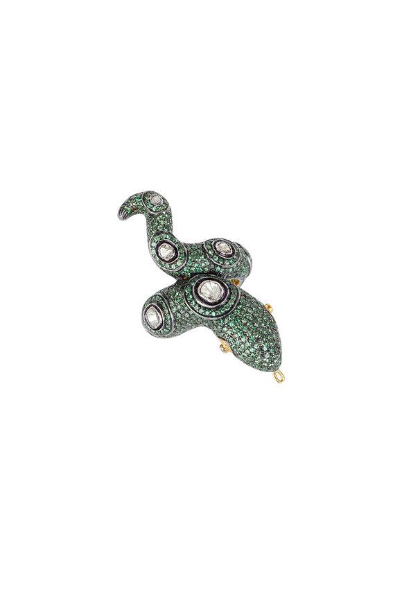 Loren Jewels Gold & Silver Tsavorite & Diamond Snake Ring