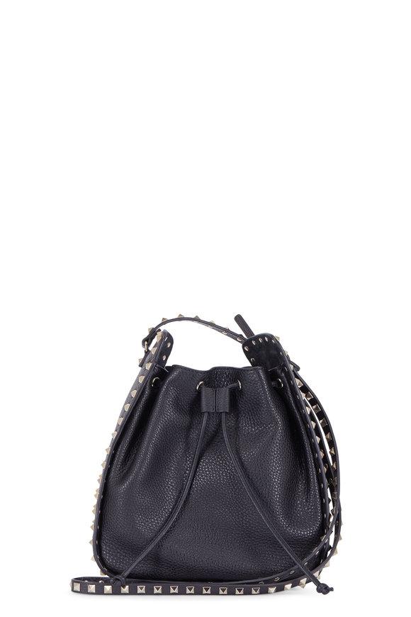 Valentino Rockstud Black Pebbled Leather Bucket Bag