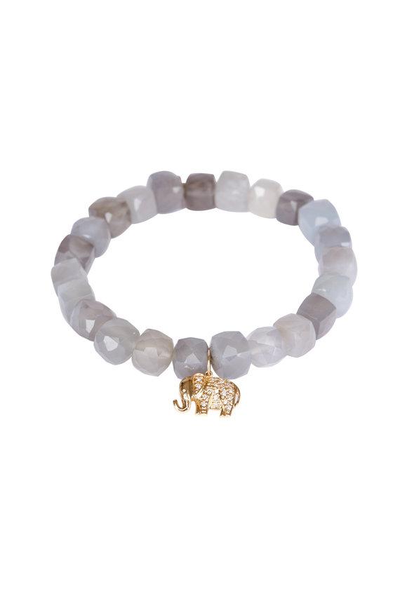 Sydney Evan Gray Moonstone Elephant Charm Bracelet