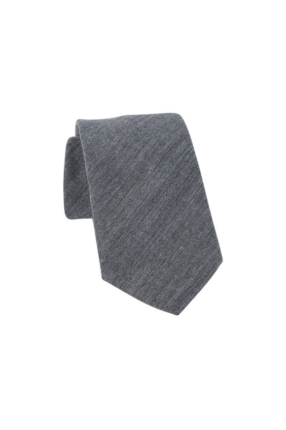 Bigi Charcoal Gray Wool Necktie