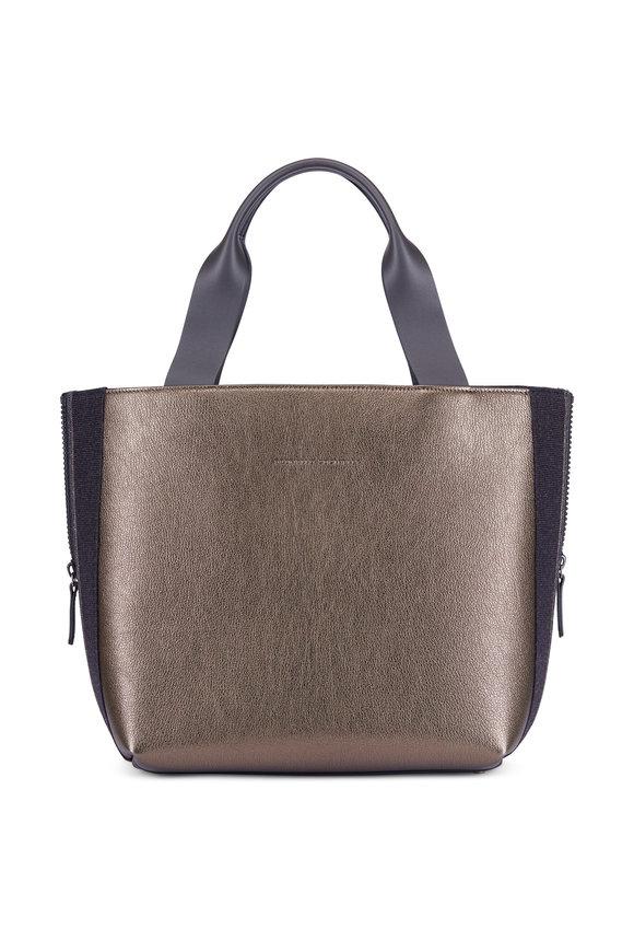 Brunello Cucinelli Military Metallic Leather & Flannel Side Zip Tote
