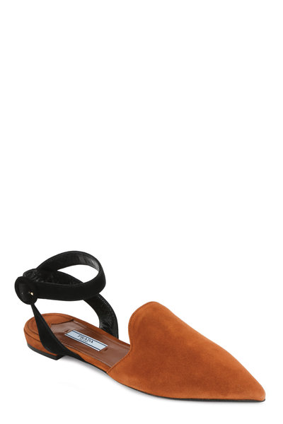 Prada - Gold & Black Suede Ankle Strap Pointed Mule