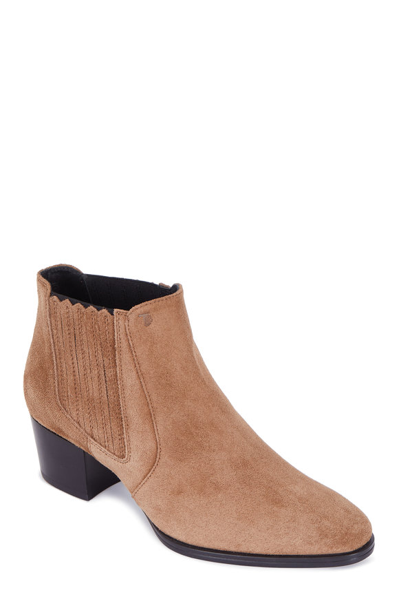 Tod's Gomma Tan Suede Ankle Boot, 50mm