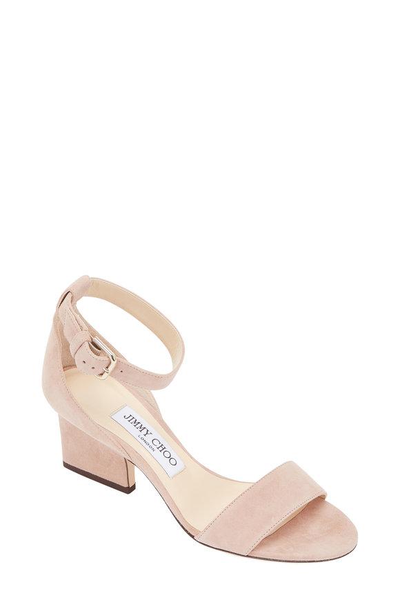 Jimmy Choo Edina Ballet Pink Suede Ankle Strap Sandal, 65mm