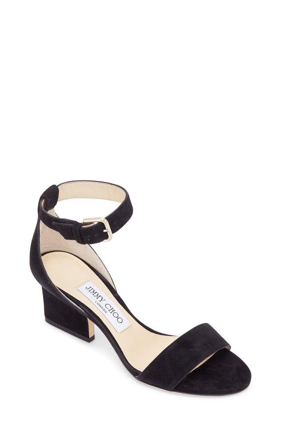 Jimmy Choo Edina Black Suede Ankle Strap Sandal, 65mm