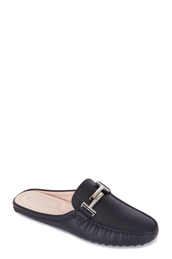 Tod's Double T Black Leather Mule Driver