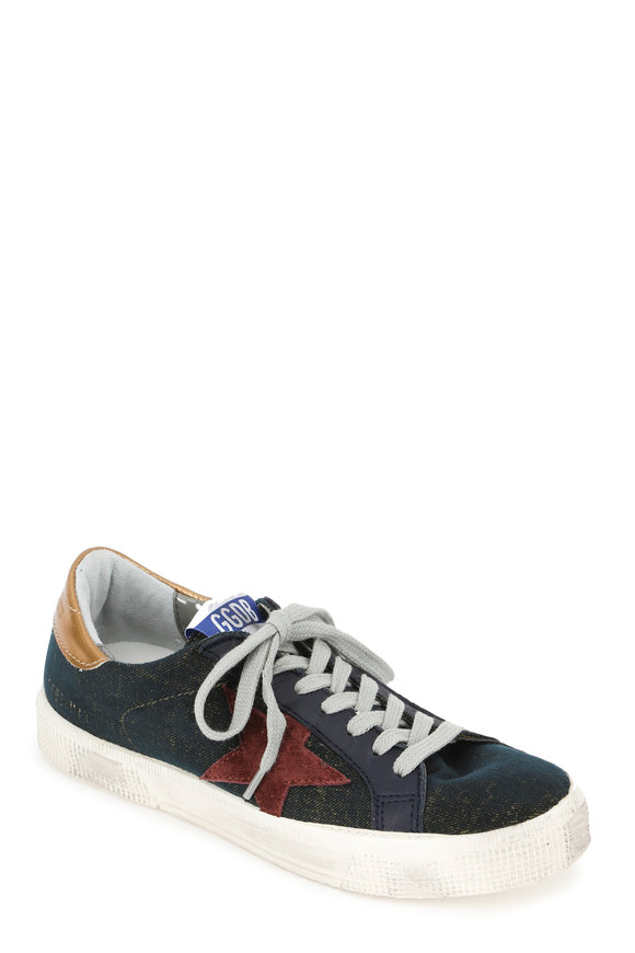 Golden Goose Women's May Aged Black Canvas Low-Top Sneaker