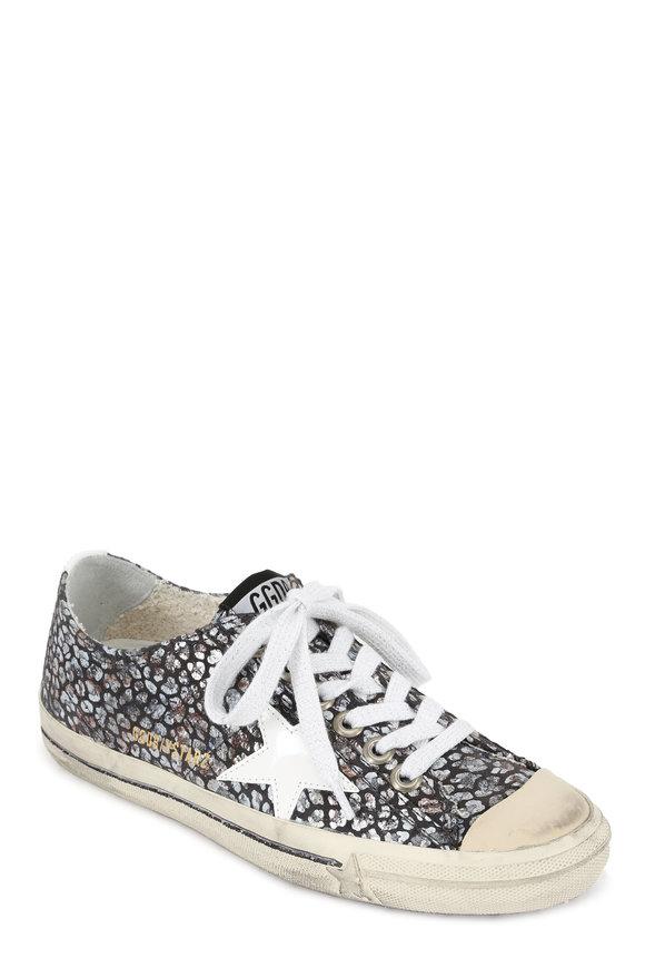 Golden Goose Women's V-Star Foiled Gray Flower Print Sneaker