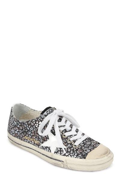 Golden Goose - Women's V-Star Foiled Gray Flower Print Sneaker
