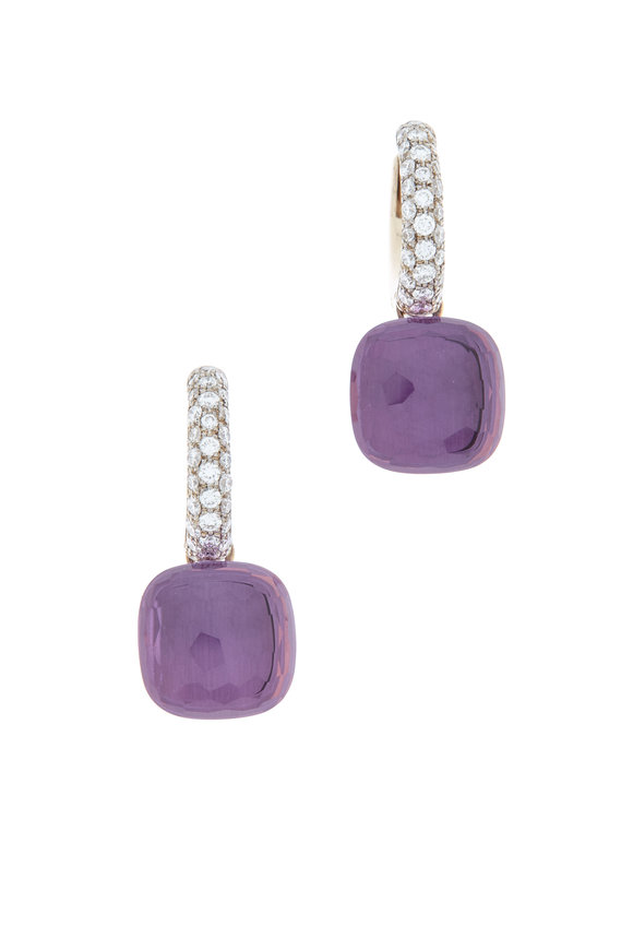 Pomellato Nudo 18K Rose Gold Amethyst & Diamond Earrings