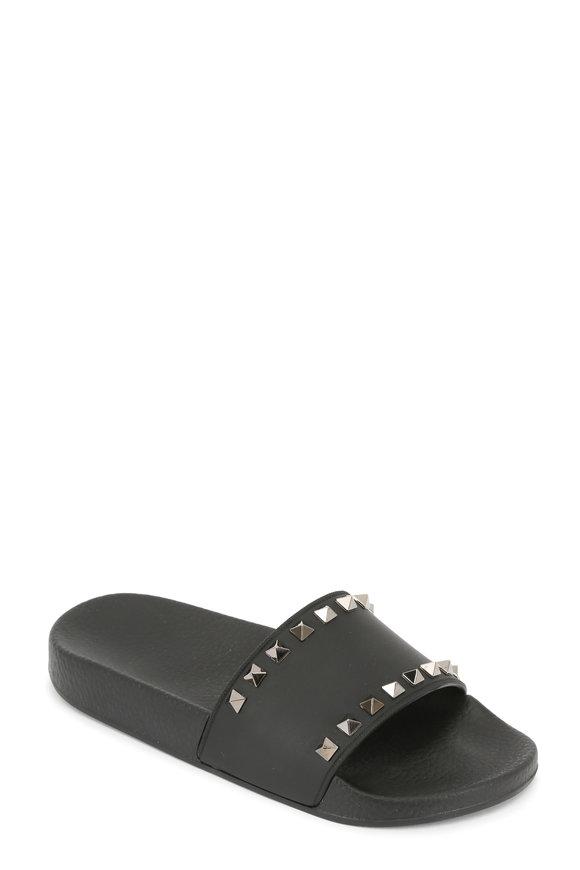 Valentino Rockstud Black Slide Sandal