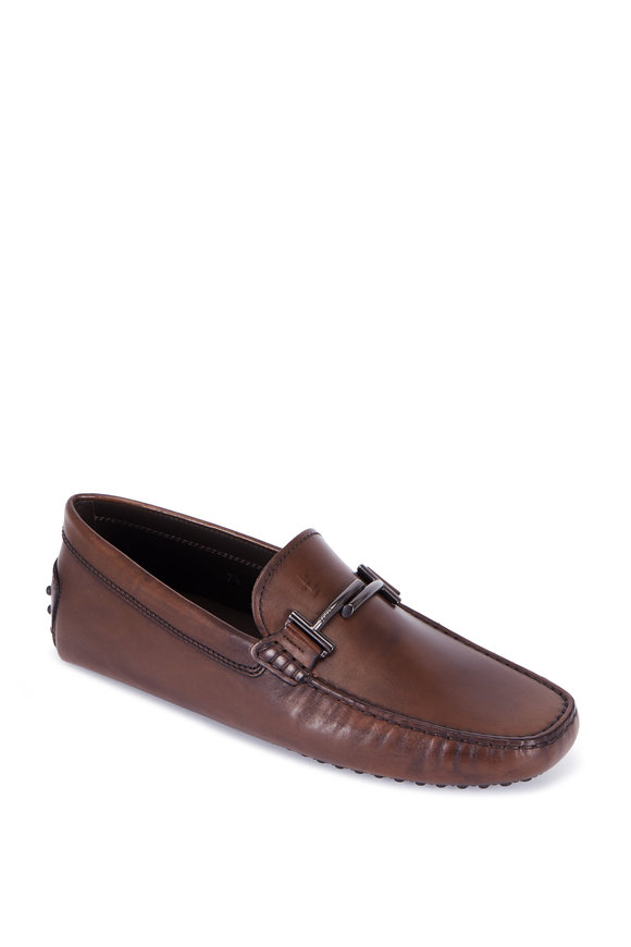 Tod's Double T Brown Burnished Leather Driver