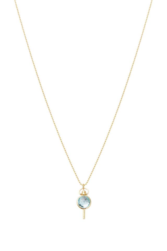Gold Mini Pocketwatch Key Blue Topaz Necklace
